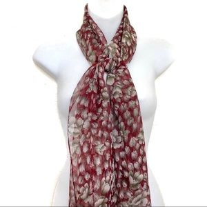 ❤️ Red and Green Floral Print Sheer Scarf